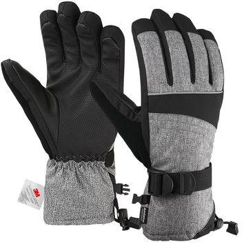 Andake Ski Gloves, Snowproof 3M Thinsulate TPU Membrane Women's Winter Gloves with Non-Slip PU Palms for skiing, snowboarding, riding, climbing and skating