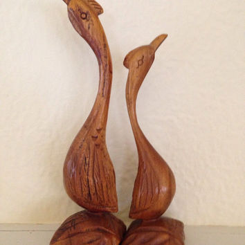 Mid Century Modern Pair of Tall Long Necked Birds Monkey Wood