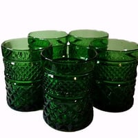 5 Emerald Green Pressed Glass Tumblers, Drinking Glasses