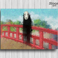 spirited away no face print anime poster