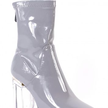 LOVE YOURSELF GREY PATENT BOOTS