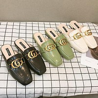 Gucci Fashion Women Leisure Double G Logo Sandal Slipper Shoes