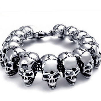 2016 Fast and furious 7 moive Silver Color Stainless Steel Skull Skeleton Bracelet Titanium Steel Bangle for Men Fashion Jewelry