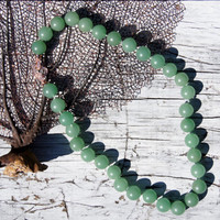Natural Fern Green Jade Beaded Necklace
