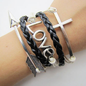 silvery crossing LOVE bracelet women white rope black leather bracelet women jewelry bangle  1288A