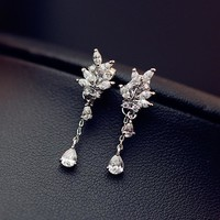 Rhinestone 925 Silver Korean Stylish Water Droplets Pendant Princess Earrings [10399363348]