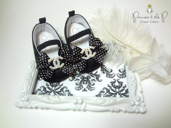 Chanel Inspired Baby Shoes Black Satin From