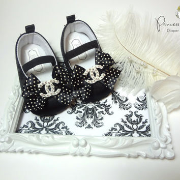Chanel Inspired Baby Shoes - Black Satin and Rhinestone, Baby Crib Shoes, First Birthday, Luxury Baby, Baby Shower, Photo Prop, Diva
