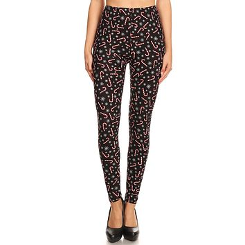Women's 3X 5X Candy Cane Snowflake Pattern Printed Leggings