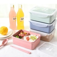 Children Cute Lunch Boxs Bento Box Microwavable LunchBox Set Office School Bento Box