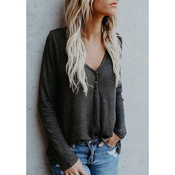 Grey Plain Buttons V-neck Long Sleeve Casual T-Shirt