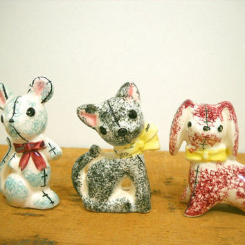 Vintage Animal Figurine Set of 3 Bunny Cat Dog Occupied Japan Glass Animals