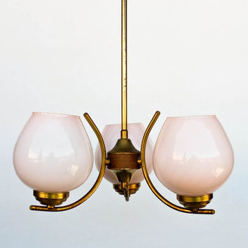Midcentury Ceiling Lamp / Three Bulbs Chandelier / Pendant Light /  Gold & Pink  / 60s Yugoslavia