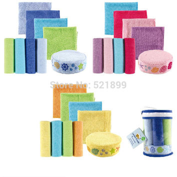 8pcs/pack Free Shiping USA Luvable Friends Washcloths with Bonus Bath Sponge, towel bath baby 8-Pack