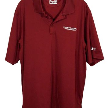 Florida State University FSU Seminoles Under Armour Loose Fit Polo Shirt Mens L - Preowned
