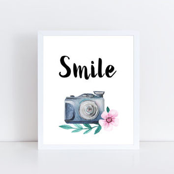 Smile, PRINTABLE, quote, camera, saying, floral, home decor, wall decor, wall art, modern, motivational, gift idea, INSTANT DOWNLOAD