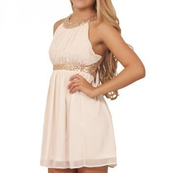 Juniors Formal Chiffon Sequin Halter Sleeveless Empire Waist Party Mini Dress