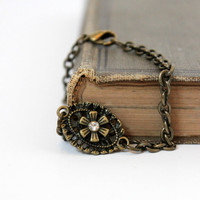 Vintage-Inspired Antique Gold and Crystal Flower Bracelet - Metal Jewelry - Chain Bracelet - Handmade Jewelry - Ready to Ship