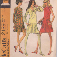 Vintage 1960s pattern for drop waist, V neck dress with pleated skirt sleeveless or long sleeved  size 10 McCalls 2139 UNCUT