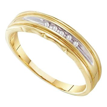 10kt Yellow Two-tone Gold Men's Round Channel-set Diamond Wedding Band 1/20 Cttw - FREE Shipping (US/CAN)