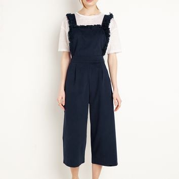 Frayed Navy Apron Crop Jumpsuit