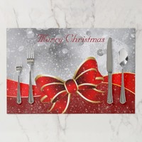 Silver Glitter & Red Christmas Sparkles Bow Paper Placemat