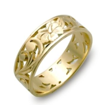 Hawaiian Rings, Hawaiian Wedding Rings: Custom made in gold, platinum, and silver.