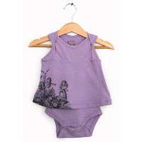 Baby Girl bodysuit Dress - Alice in Wonderland - Alice & the talking flowers