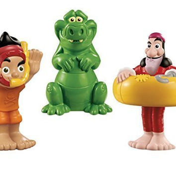 Fisher-Price Disneys Jake and The Never Land Pirates: Jake Tick-Tock the Crocodile Hook Bath Squirters Bundle