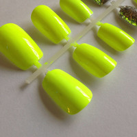 Neon Yellow nails, false, fake, and glue on