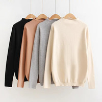 Winter Korean Stylish Vintage Long Sleeve Pullover High Neck Knit Tops Sweater [9195538375]