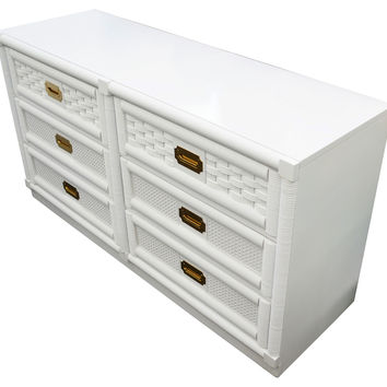 Campaign-Style Rattan Dresser by Dixie