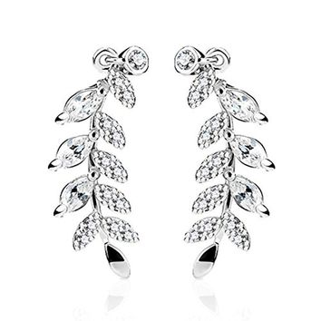 BodyJ4You Pair of Marquise Cut Crystal Clear Paved Leaf Ear Crawler Silvertone Ear Climber