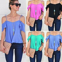 Women Off Shoulder Tops Short Sleeve Shirt Casual Blouse Loose Summer Costume