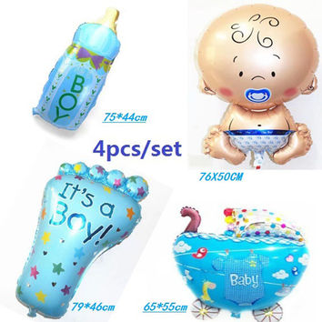 Hot 4pcs/set air baloon baby boy balloon foil 4 kinds ballons for baby birthday party decoration baloes de festa mylar bola