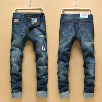 Strong Character Ripped Holes Vintage Slim Pants Jeans [6541760387]