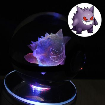 3D Laser Geng ghost elves glass pokemon LED Night Light Magic Ball for Children Christmas Gifts HUI YUAN theme