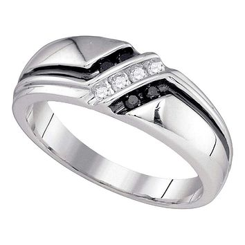 10kt White Gold Men's Round Black Color Enhanced Diamond Band Ring 1/5 Cttw - FREE Shipping (US/CAN)