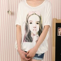 Fashion Batwing Girl Picture Loose T-Shirt White