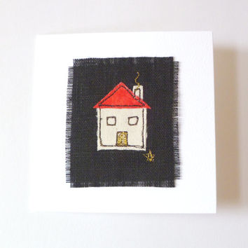 "New home card. ""I've moved"" card. Handmade embroidered card for new home owners. Choose your own roof colour. Blank for your own message."