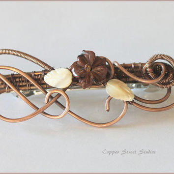 Hair Barrette with Stone Flower and Leaves, Copper Wire Wrapped, French Barrette, Hair Clip Women, Large, Unique Hair Accessory, Artisan Pin