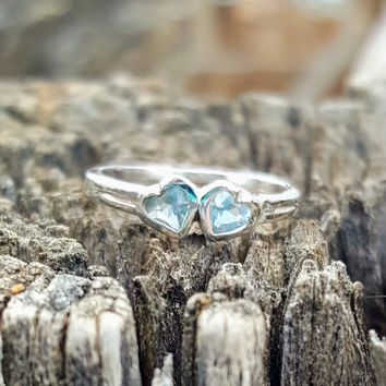 .925 Sterling Silver Aquamarine Twin Heart Ring Size 1-5 Kids Baby and Ladies Midi