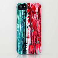 Color Combo #2 iPhone & iPod Case by Claudia McBain, Teal and Red, Phone Case