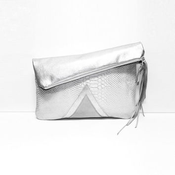 Silver Reptile Leather Clutch // Fold Over Bag // White Sparkle Purse // Holographic Purse // Party Bag // Wedding // Valentine Day's Gift
