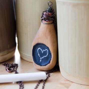 Chalkboard necklace, chalkboard jewelry, chalkboard art, wooden jewelry, wooden necklace,chalkboard sign,chalkboard wedding,long necklace