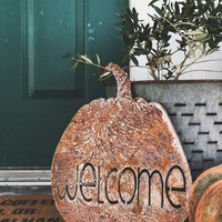Welcome Rusty Metal Pumpkin Sign