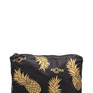 ALOHA Collection Small Pineapple Fields Pouch in Black/Gold