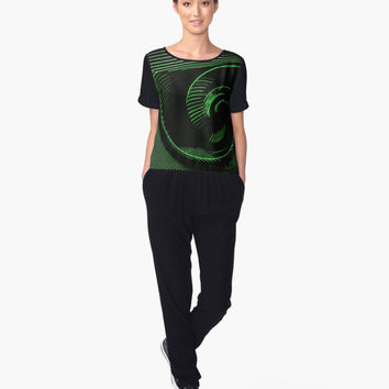 'Green spiral, abstraction, visual, optical illusion' Women's Chiffon Top by cool-shirts