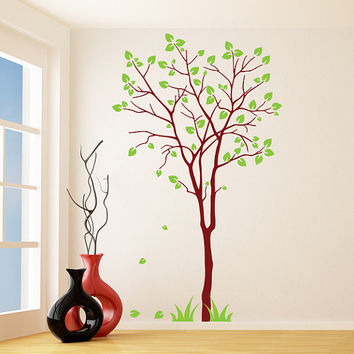 Vinyl Wall Decal Colorful Tree with Falling Leafs / Nature Art Decor Home Sticker / Removable Forest DIY Mural + Free Random Decal Gift