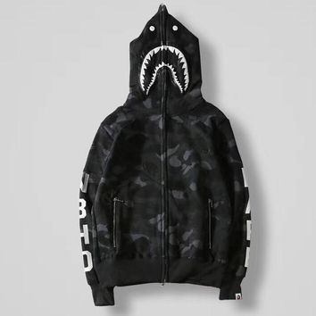 BAPE Woman Men Fashion Hooded Cardigan Jacket Coat